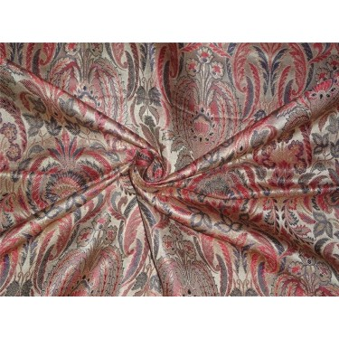 silk brocade fabric red ,blue and mettalic gold BRO542[4]