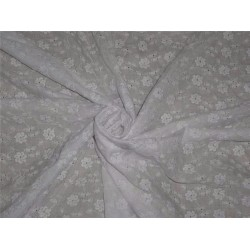 "white color cotton organdy 44"" ~tiny floral embroidery"