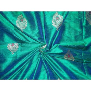 100% raw silk brocade green x blue mettalic gold and pink BRO536[3]
