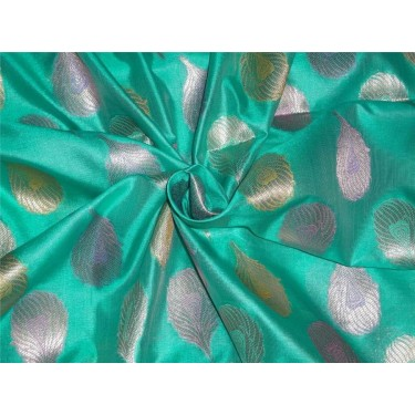 "Brocade Fabric green 44"" single length 4.35 yards @ 55$"