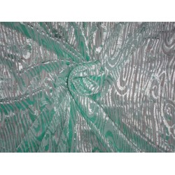 devore burnout mint green Velvet fabric 44""