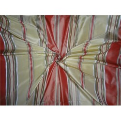 "100% silk taffeta ribbed horizontal stripe salmon olive and gold 54""TAFS142"