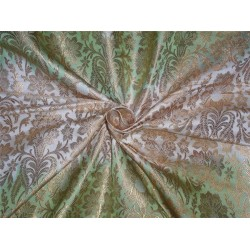 "heavy silk brocade shaded pastel green and ivory 44""BRO545[4]"