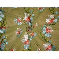 """2x2 cotton voile green embroidered 44"""" B2#88[2]"""