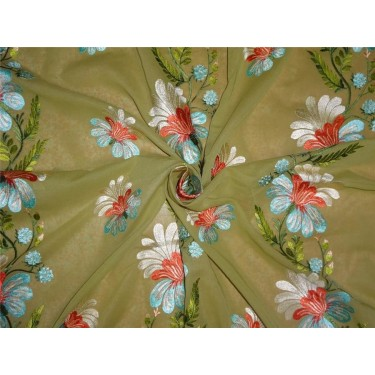 "2x2 cotton voile green embroidered 44"" B2#88[2]"