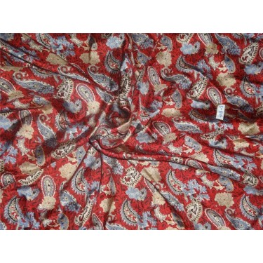 "100% silk twill printed fabric- 44""single length 3.30 yds paileys"
