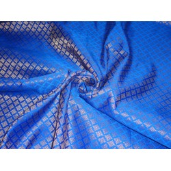 "Brocade Fabric royal blue x mettalic Gold Color 44""BRO551[2]"