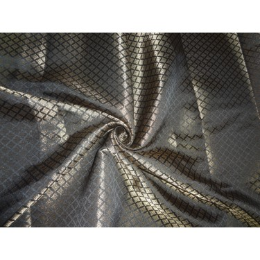 "Brocade Fabric black x mettalic Gold Color 44""BRO551[3]"