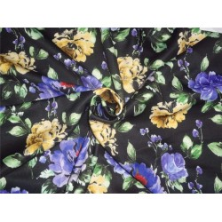 "black floral print Scuba Knit fabric 59"" wide- for fashion wear B2SCUBA83[4]"
