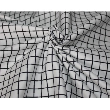 "100% cotton lycra twill 60mm 58"" wide black and white plaids"