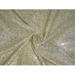 Double Georgette fabric with sequin embroidery Butter color