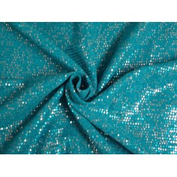 Double Georgette fabric with sequin embroidery Aqua Blue color