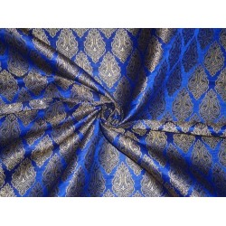 Brocade Fabric Royal Blue,black & Metallic Gold Colour