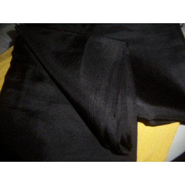 Black colour plain habotai silk 44""