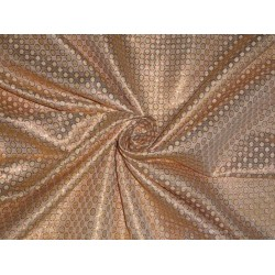 Spun Silk Brocade fabric Beige & Metallic Peach Colour