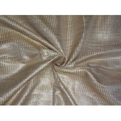 Spun Silk Brocade fabric Beige & Metallic Silver Colour
