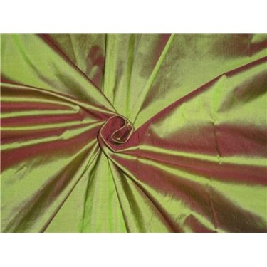 "100% Silk Taffeta Fabric Pistachio Green x Pink Color 80 Grams 44"" wide sold by the yard"