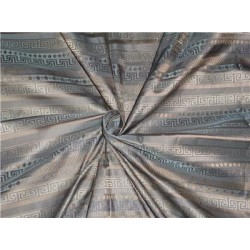 "SILK TAFFETA JACQUARD FABRIC 54"" WIDE-DAMASK FABRIC GREY X GOLD"