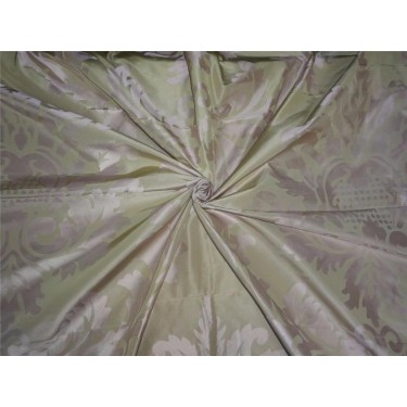 SILK TAFFETA DAMASK FABRIC BEIGE X PINK-HOME DECOR 54""
