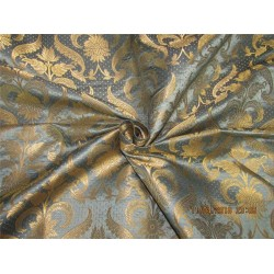 Brocade fabric greyish blue x metallic gold 44 inches by the yard BRO577[3]
