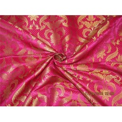 "Silk Brocade fabric hot pink x metallic gold 44"" BRO577[2]"