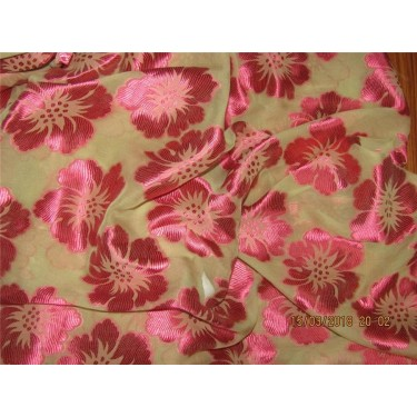100% Silk burnout Fabric gold cream x red color 44'' wide