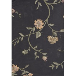 "black floral  silk dupioni fabric 54""-computer embroideryDUPE34"