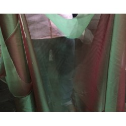 "100%  silk organza fabric 44""two tone green x red"