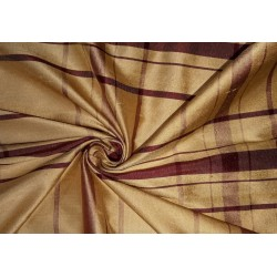"""100% silk dupion  fabric PLAIDS   gold and burgundy   DUPNEWC6[2] 54"""" wide sold by the yard"""
