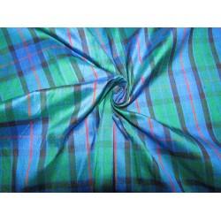 """100% silk dupion  fabric PLAIDS  blue green and red   DUPNEWC3[1] 54"""" wide sold by the yard"""