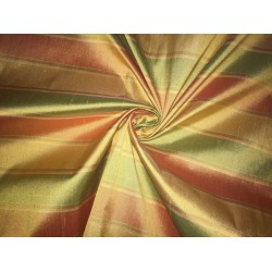 """100% silk dupion  fabric STRIPES  gold and green   DUPNEWS3[5]  54"""" wide sold by the yard"""