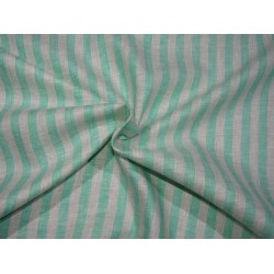 """100%  Linen fabric 60s lea ~ivory and green stripe -58"""" wide by the yard"""