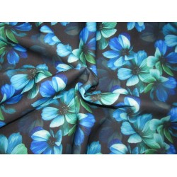 """Customized Digital Prints On Neoprene Fabric blue and green floral 58"""" WIDE by the yard"""