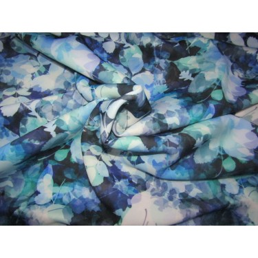 """Customized Digital Prints On Neoprene Fabric blue floral 58"""" WIDE by the yard"""