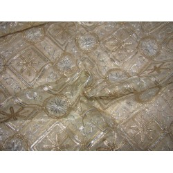 """organza fabric 44"""" nude color with gold and silver embroidery by the yard"""