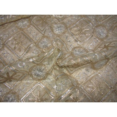 """organza fabric 44"""" natural white color with gold and silver embroidery by the yard"""