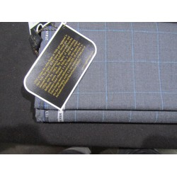"""woolen fabric grey with blue plaids 58"""" wide single length 2.70 yds"""
