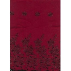 Dark Wine voile fabric with cut out work & embroidery 58""