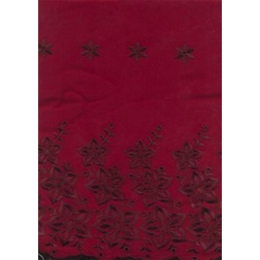 """Dark Wine voile fabric with cut out work & embroidery 58"""""""