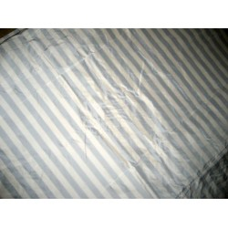"Silk taffeta one inch stripes 54"" ~white sky blue"