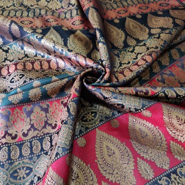 Brocade jacquard Fabric pink,navy,aubergine,green &metallic gold  BRO678[4]