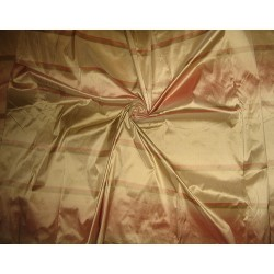"SILK TAFFETA FABRIC 54"" ~Reddish Pink,Green and Cream colour stripe"