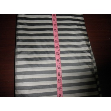 "Silk taffeta half inch stripes 56"" ~ivory / grey"