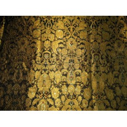 Pure Heavy Silk Brocade Fabric Black,Red & MustardGold