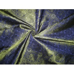 "Silk Brocade jacquard Vestment Fabric Navy Blue & Green 44""BRO81[2]"