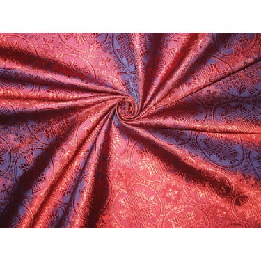 dark pink / blue jacquard brocade-vestment fabric