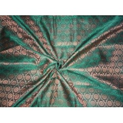 Spun  Brocade fabric Green & Metallic Gold Colour