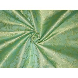 Vestment Silk Brocade fabric Sea blue x Green & Butter