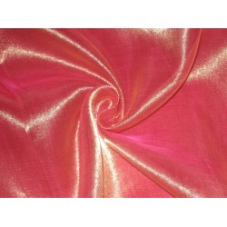 Sheer Dark Pink x gold silk mettalic tissue fabric