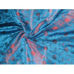 SILK BROCADE FABRIC Blue & Rusty Red 44""